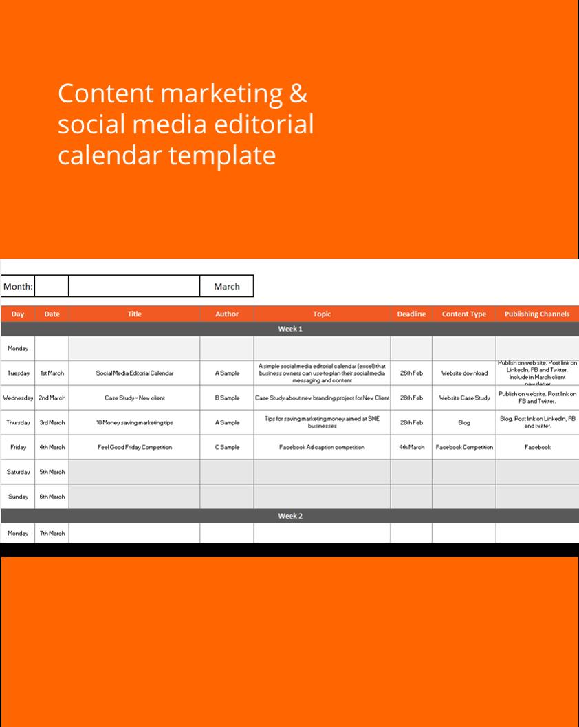 Social Media Editorial Calendar Template Kinetic Marketing Design