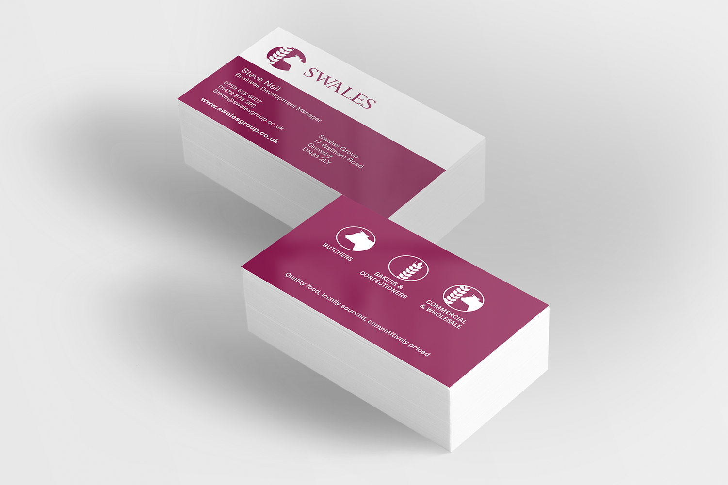 Our work kinetic marketing design swales butchers bakers and confectioners business cards reheart Images